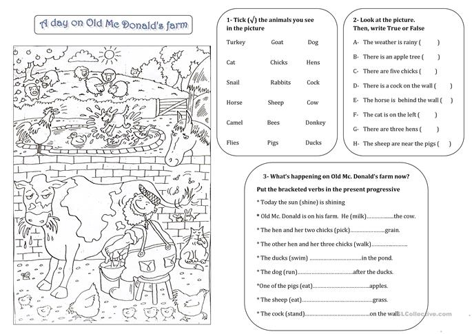 OLD MAC DONALD'S FARM - ESL worksheets