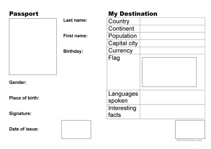 9 free esl passport worksheets for Make your own passport template