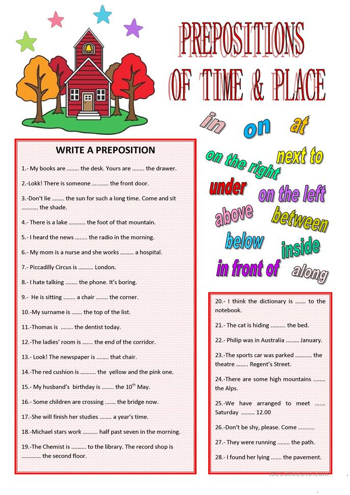 Preposition Of Time And Place Worksheets For Grade 3 - exercises ...