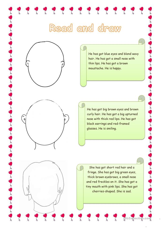read and draw - ESL worksheets