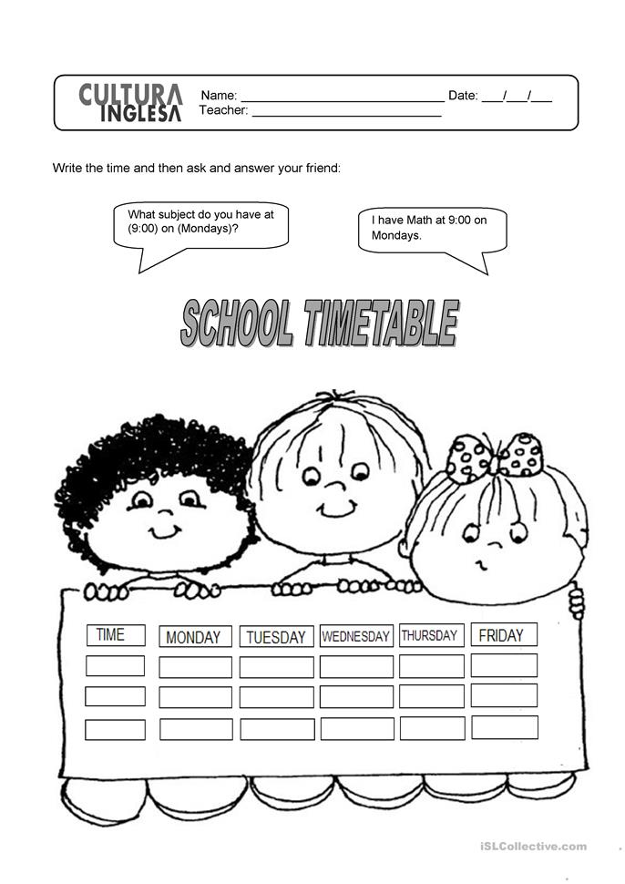 Number Names Worksheets » Timetable Worksheets - Free Printable ...