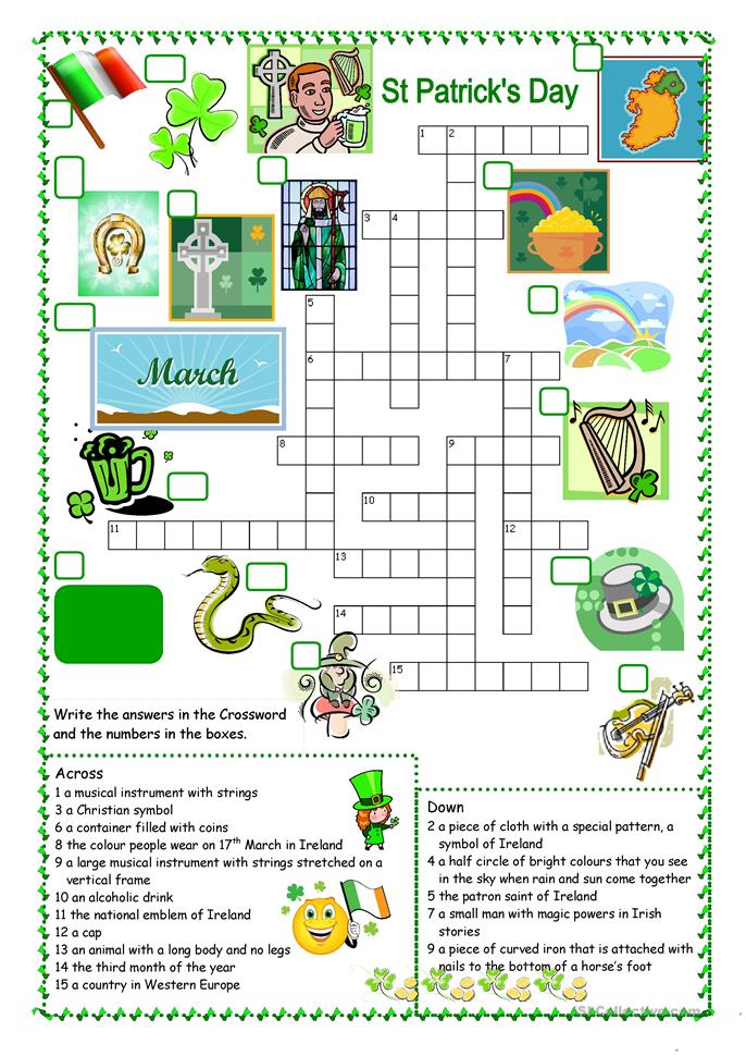 St Patrick's Day Crossword - ESL worksheets