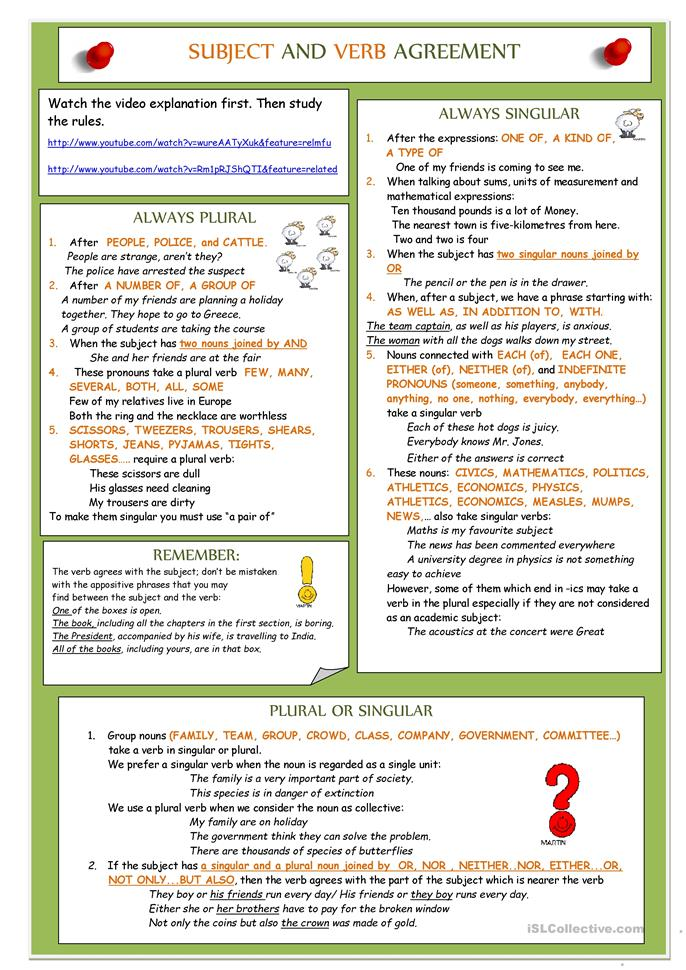 Subject and Verb agreement - ESL worksheets