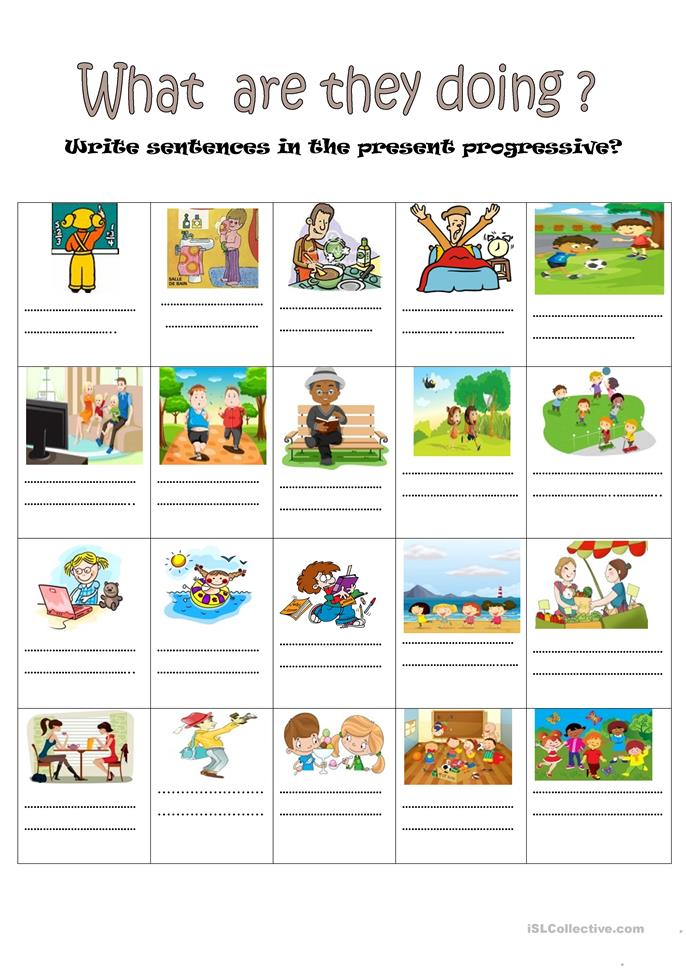 what are they doing? - ESL worksheets