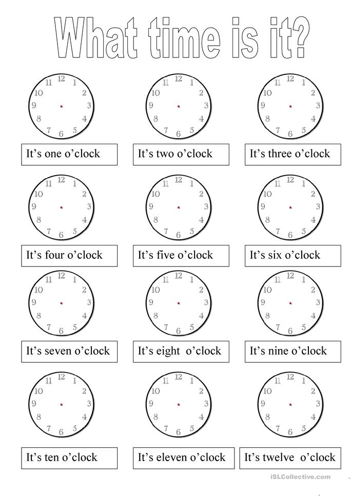 What time is it? - ESL worksheets