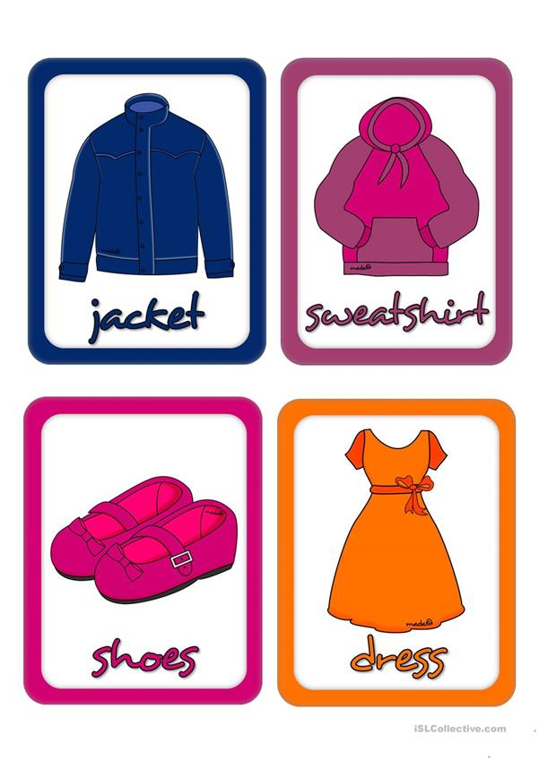 Clothes Sorting By Color ~ Clothes and accessories flashcards worksheet free esl