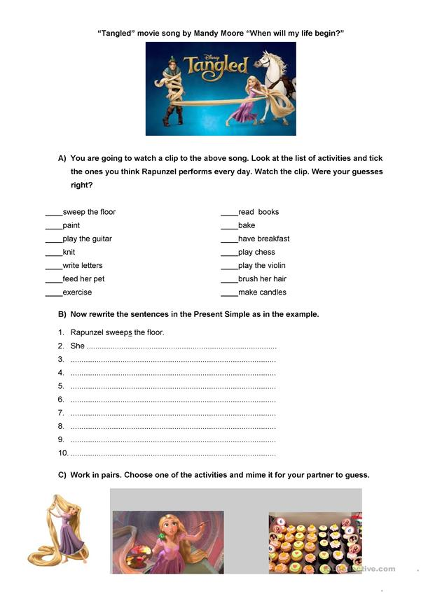 Tangled Movie Song With Video English Esl Worksheets For Distance Learning And Physical Classrooms
