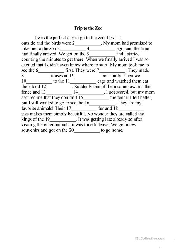 Trip to the Zoo Mad Libs - English ESL Worksheets
