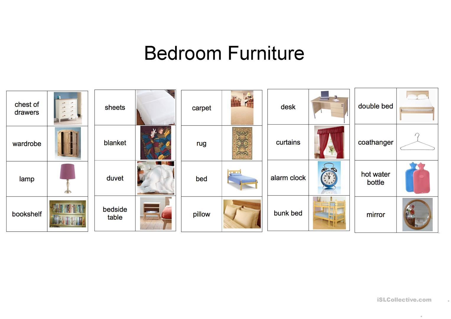 Furniture Design Vocabulary plain bedroom furniture vocabulary a clipart design and