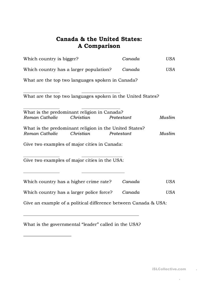 Canada vs USA Thanksgiving worksheet Free ESL printable