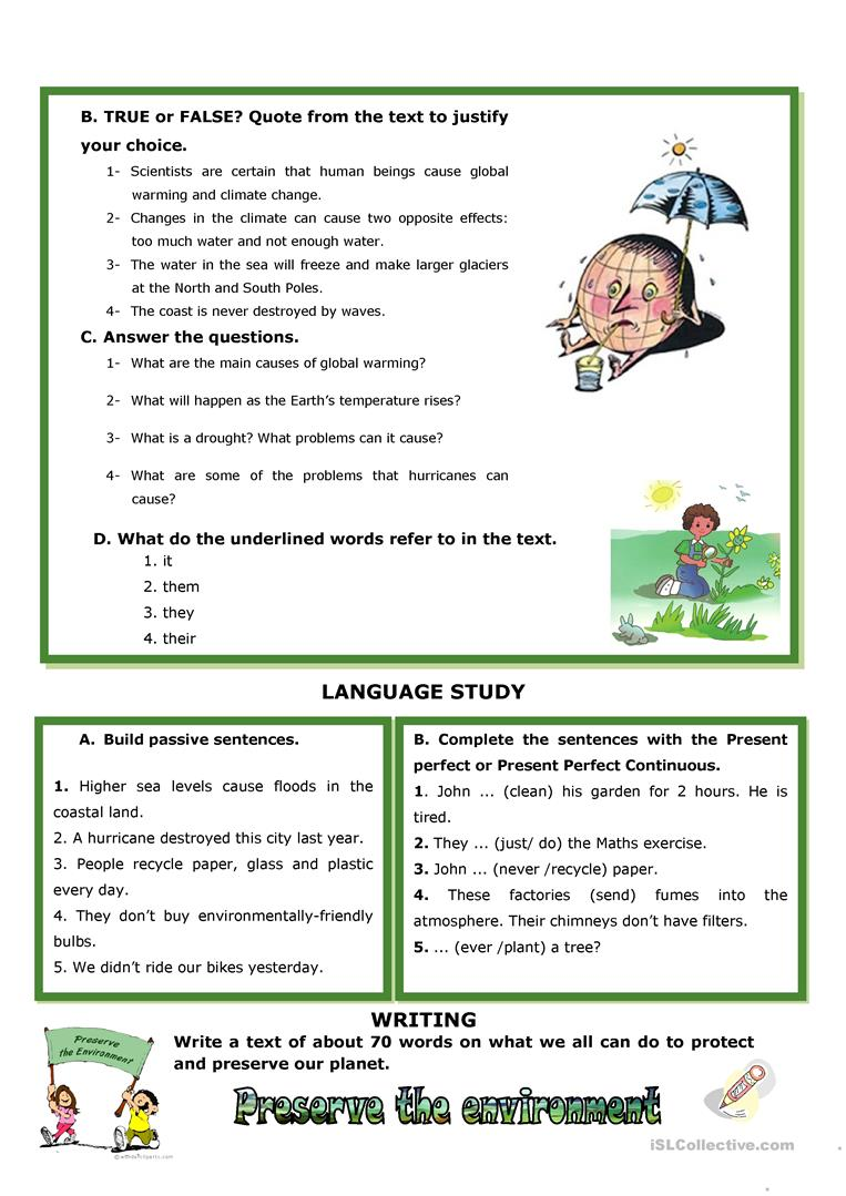 Climate Change Calamities Worksheet Free Esl Printable