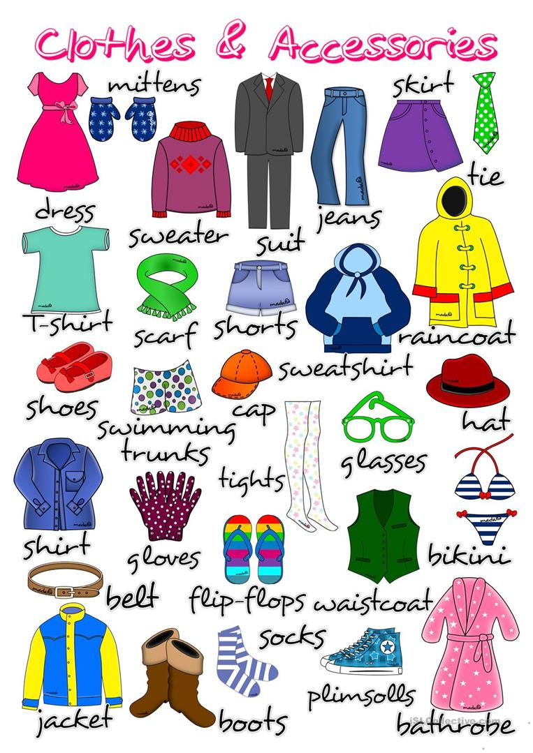 Clothes and accessories - poster - English ESL Worksheets for ...