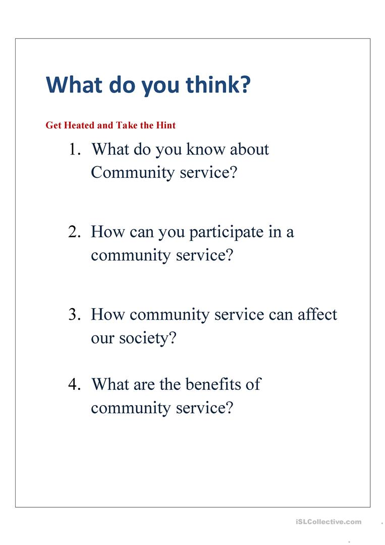Community Service English Esl Worksheets