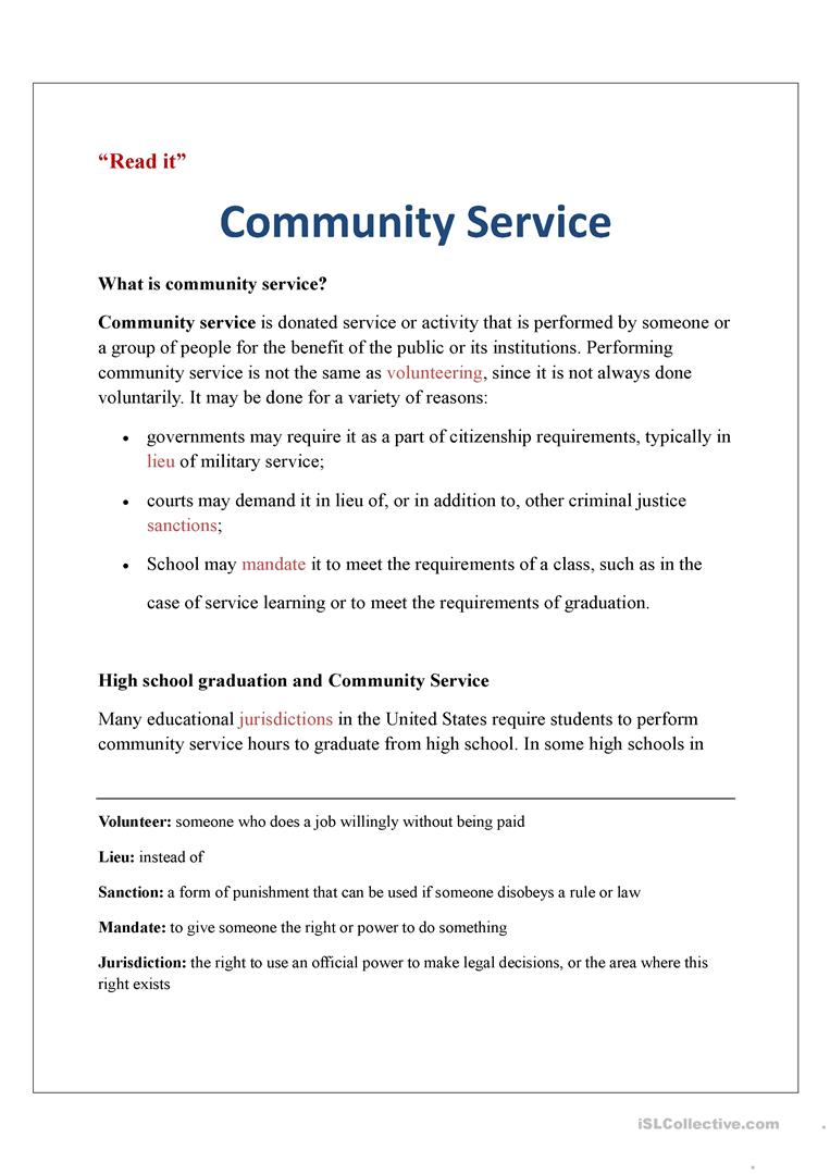 Community Service Worksheet Free Esl Printable