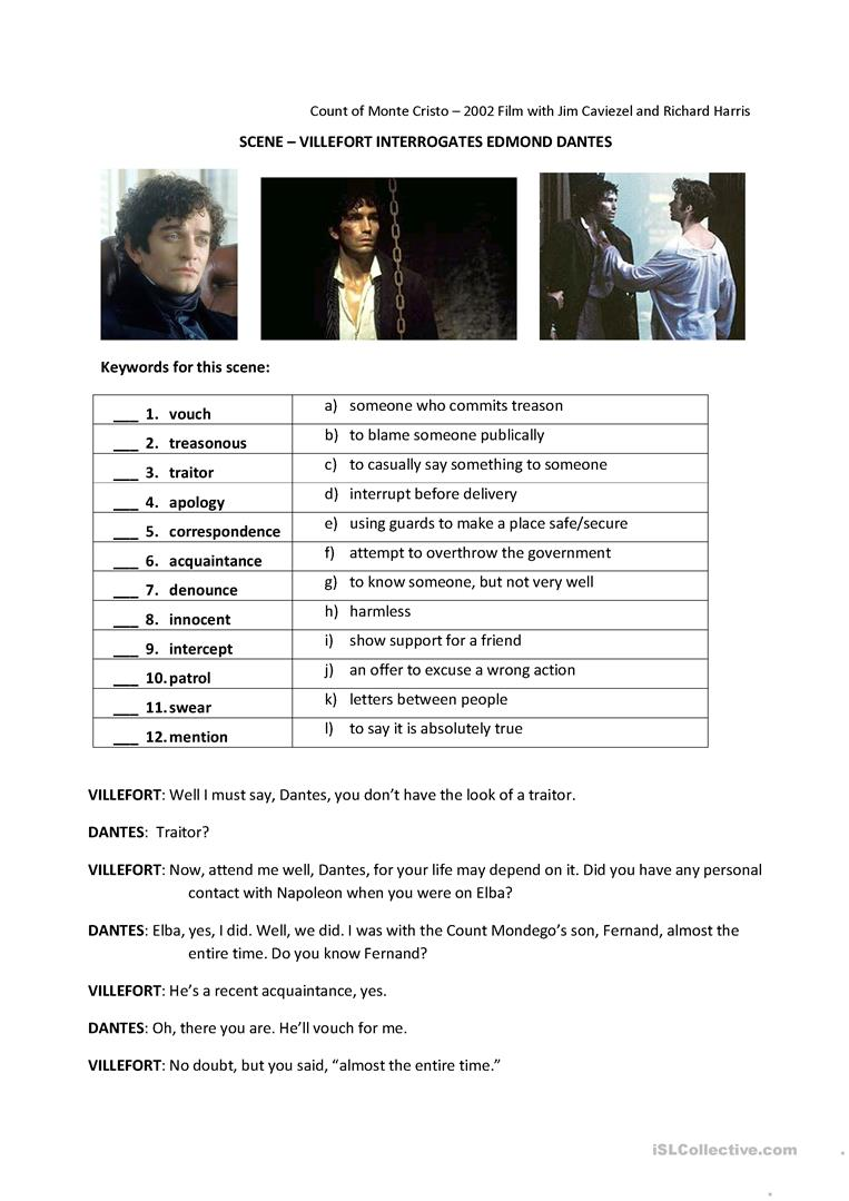 2 free esl count of monte cristo worksheets count of monte cristo 2002 movie robcynllc Image collections
