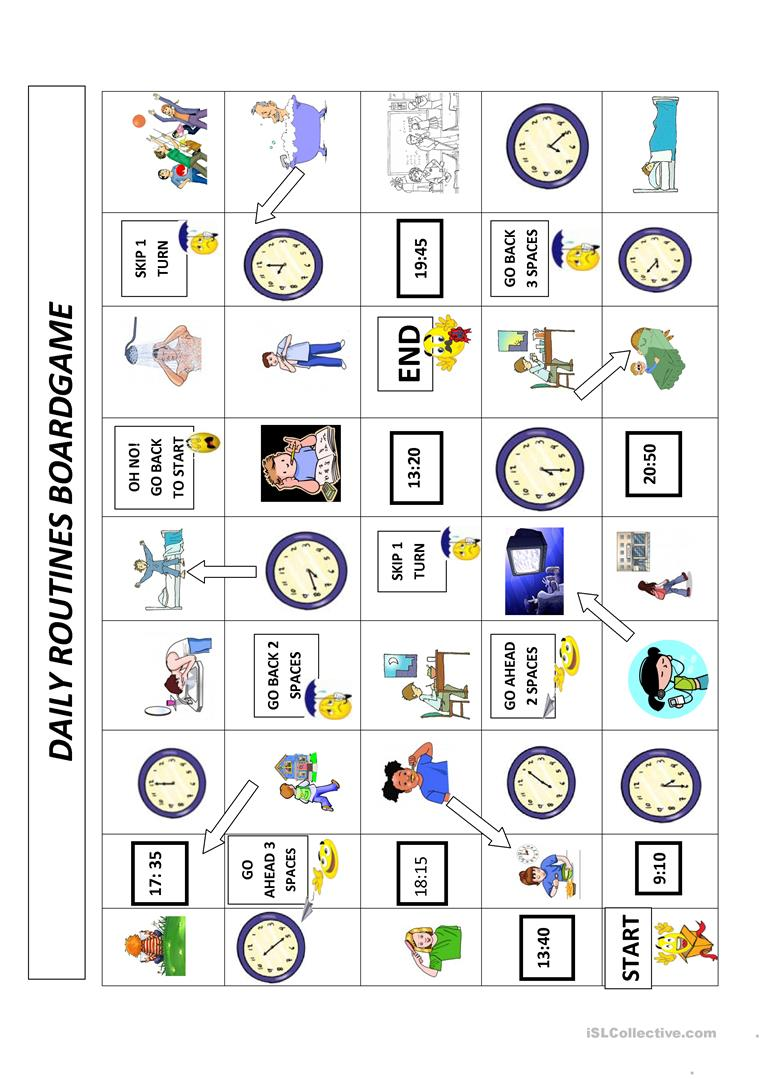 daily routines and time boardgame worksheet free esl printable worksheets made by teachers. Black Bedroom Furniture Sets. Home Design Ideas