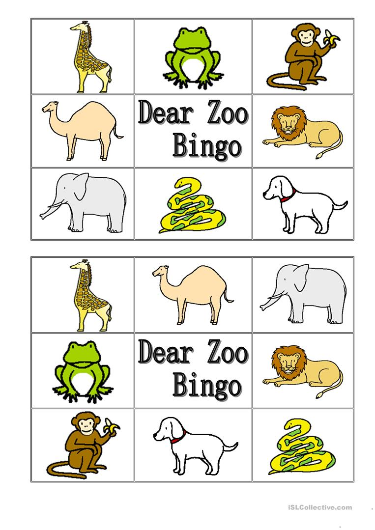 dear zoo animal bingo worksheet free esl printable worksheets made by teachers. Black Bedroom Furniture Sets. Home Design Ideas