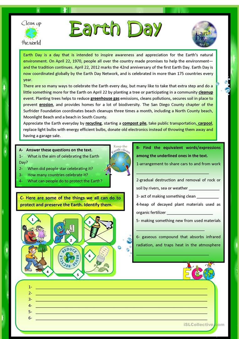 Earth Day - English ESL Worksheets