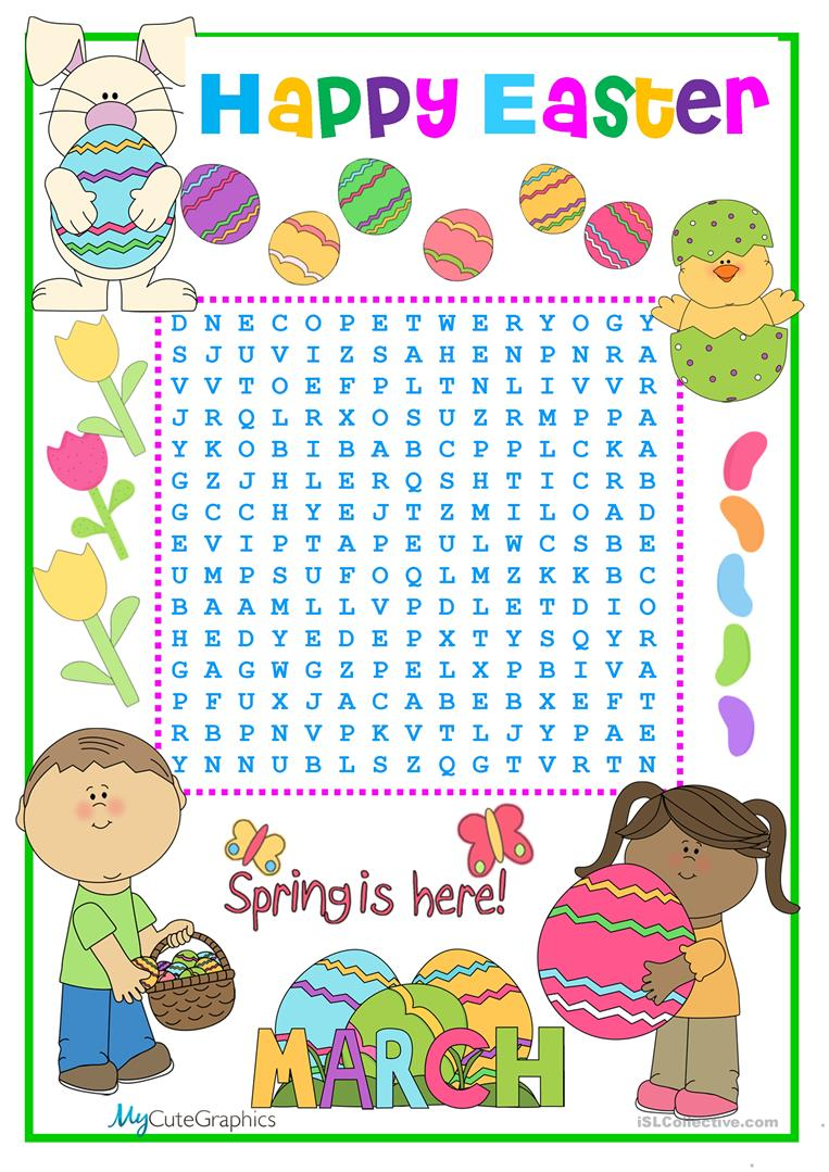 Easter Wordsearch Worksheet Free Esl Printable Worksheets Made By