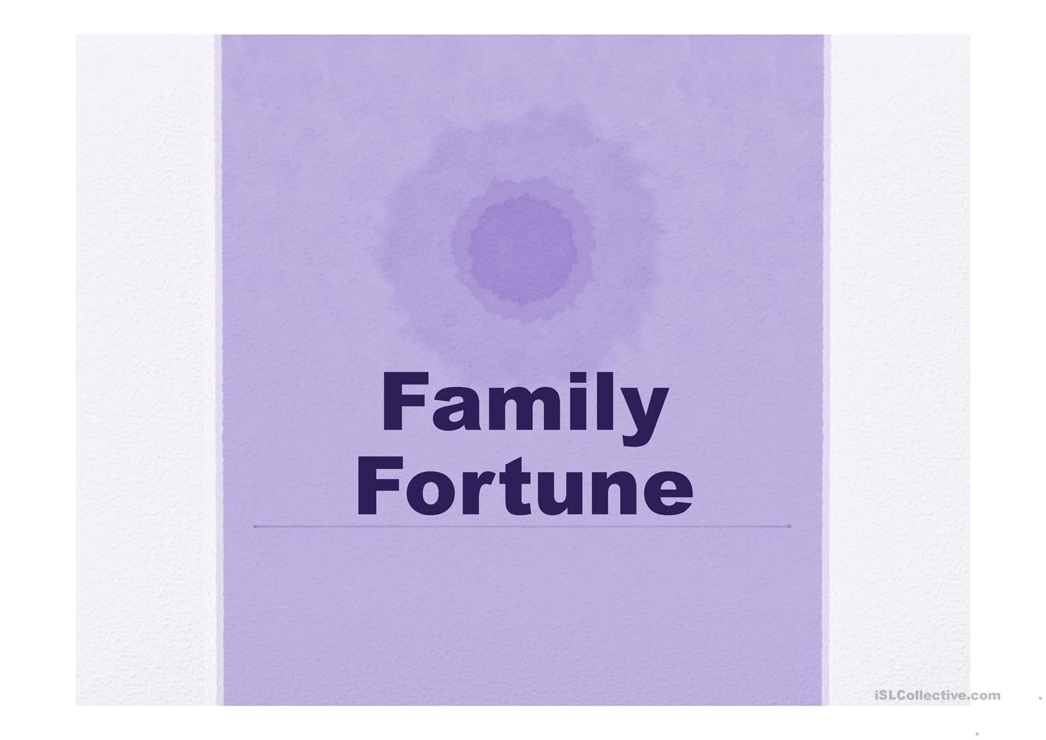 Fun Worksheets For Adults : Family fortune ppt worksheet free esl projectable worksheets made