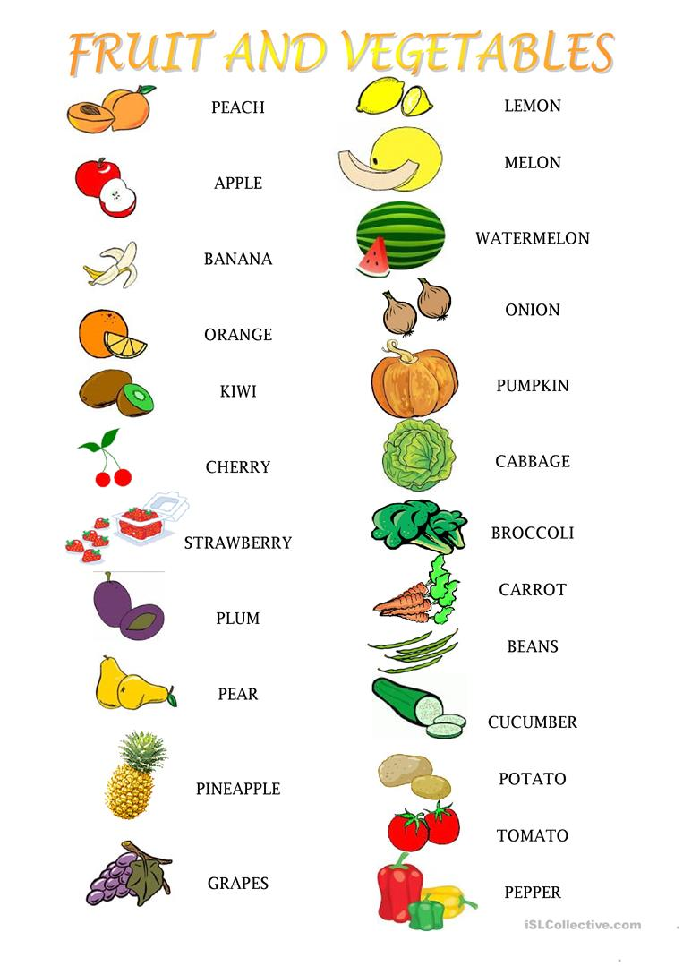 graphic regarding Printable Fruits and Vegetables identified as Fruit and greens functions - English ESL Worksheets