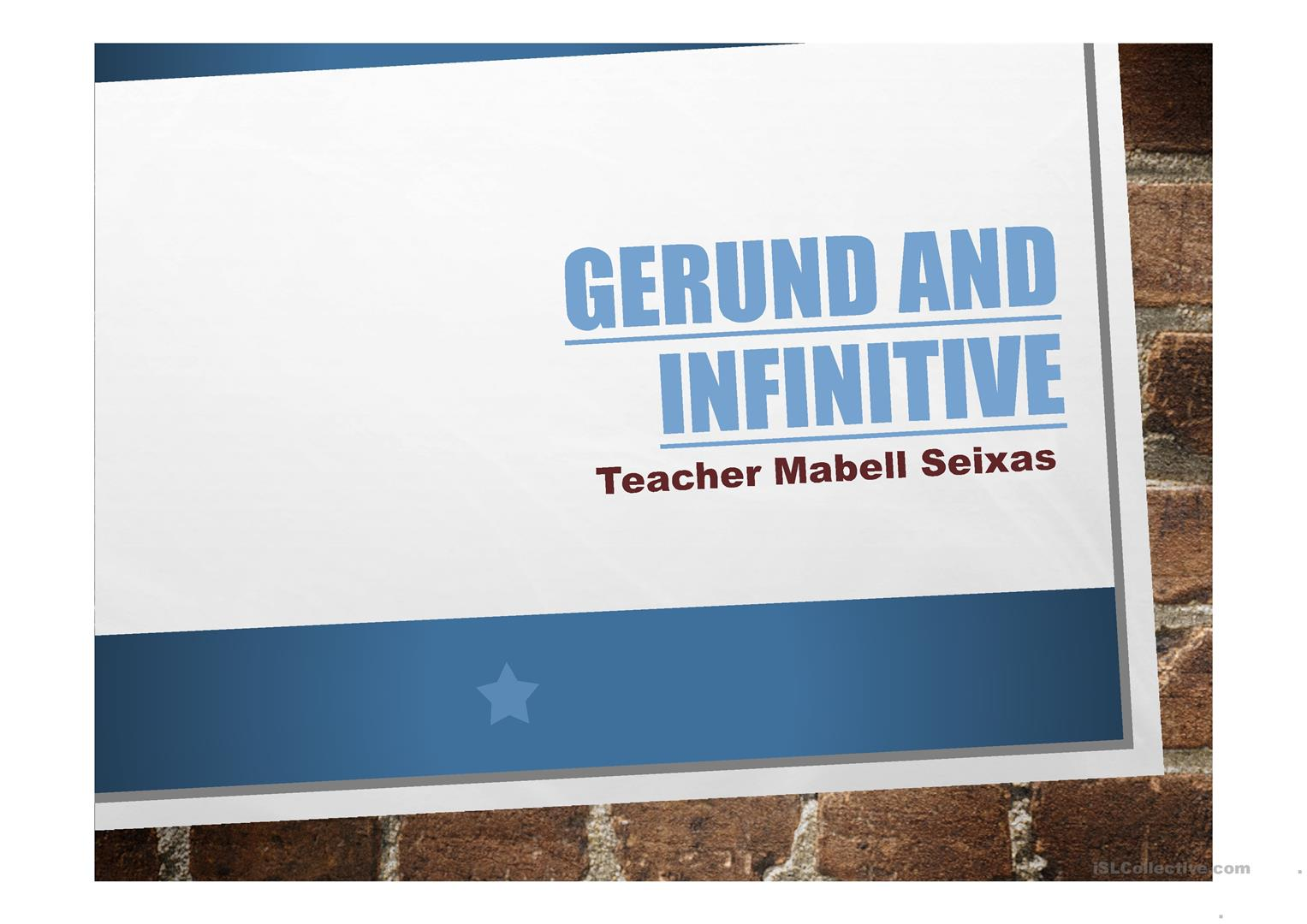 23 FREE ESL Gerunds and Infinitives Powerpoint presentations, exercises