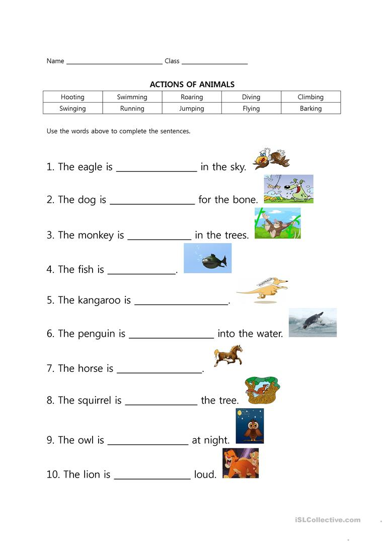 Math Property Worksheets Word Going To The Zoo  Animal Actions Worksheet  Free Esl Printable  Create A Graph Worksheet Pdf with Math Superstars Worksheets Excel Full Screen Linear Equations Worksheets Pdf