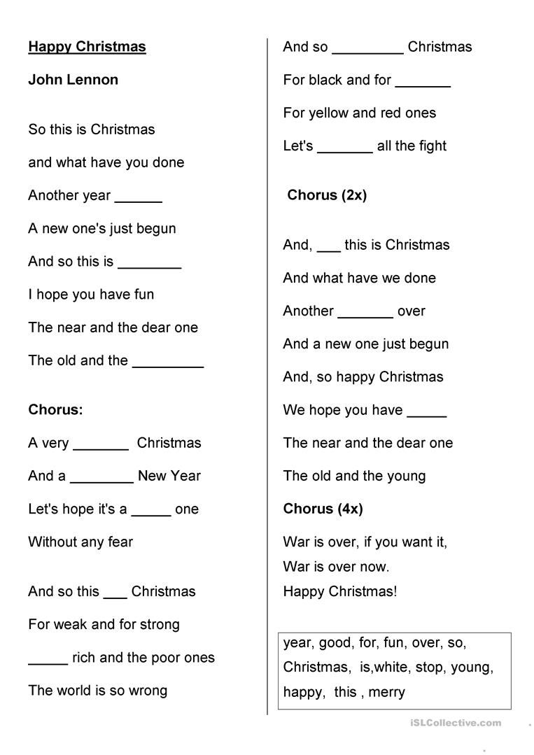 Happy Christmas - John Lennon worksheet - Free ESL printable ...