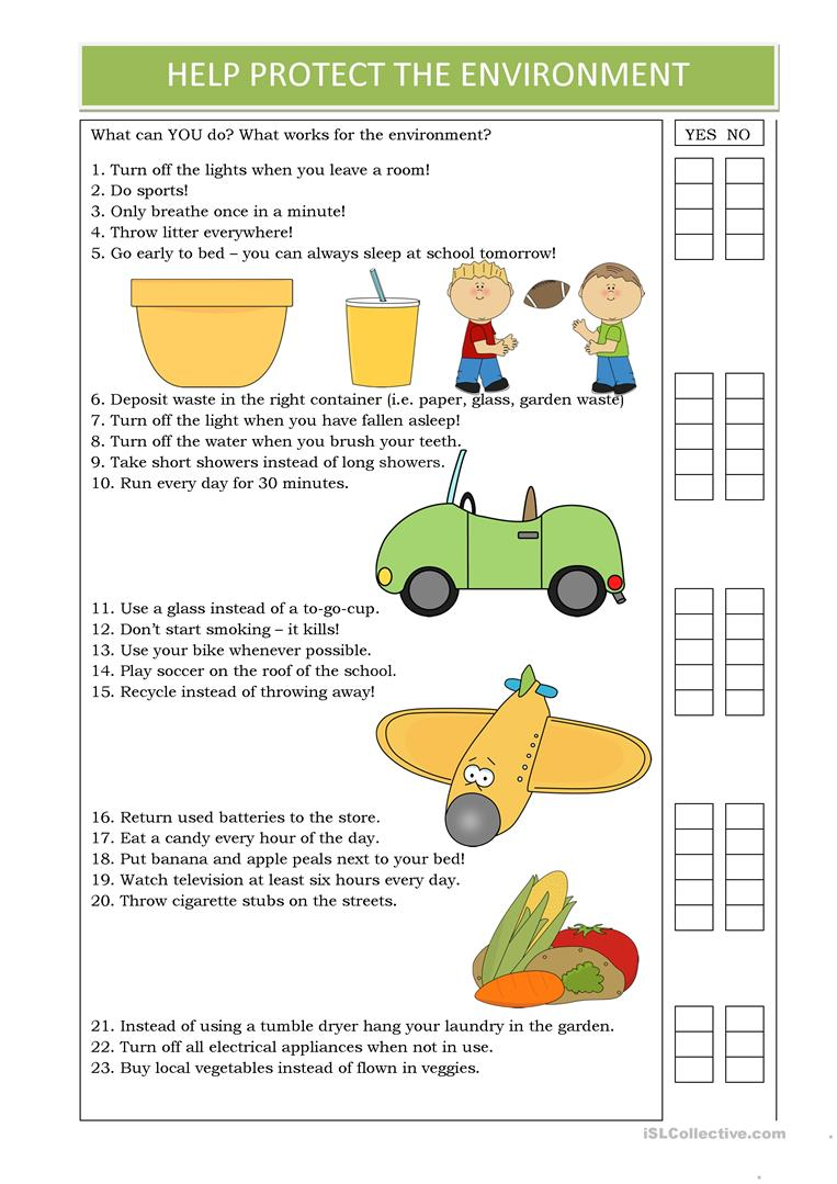 Help Protect The Environment English ESL Worksheets For
