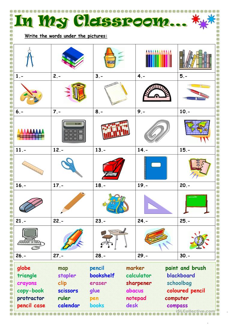 In my classroom - English ESL Worksheets