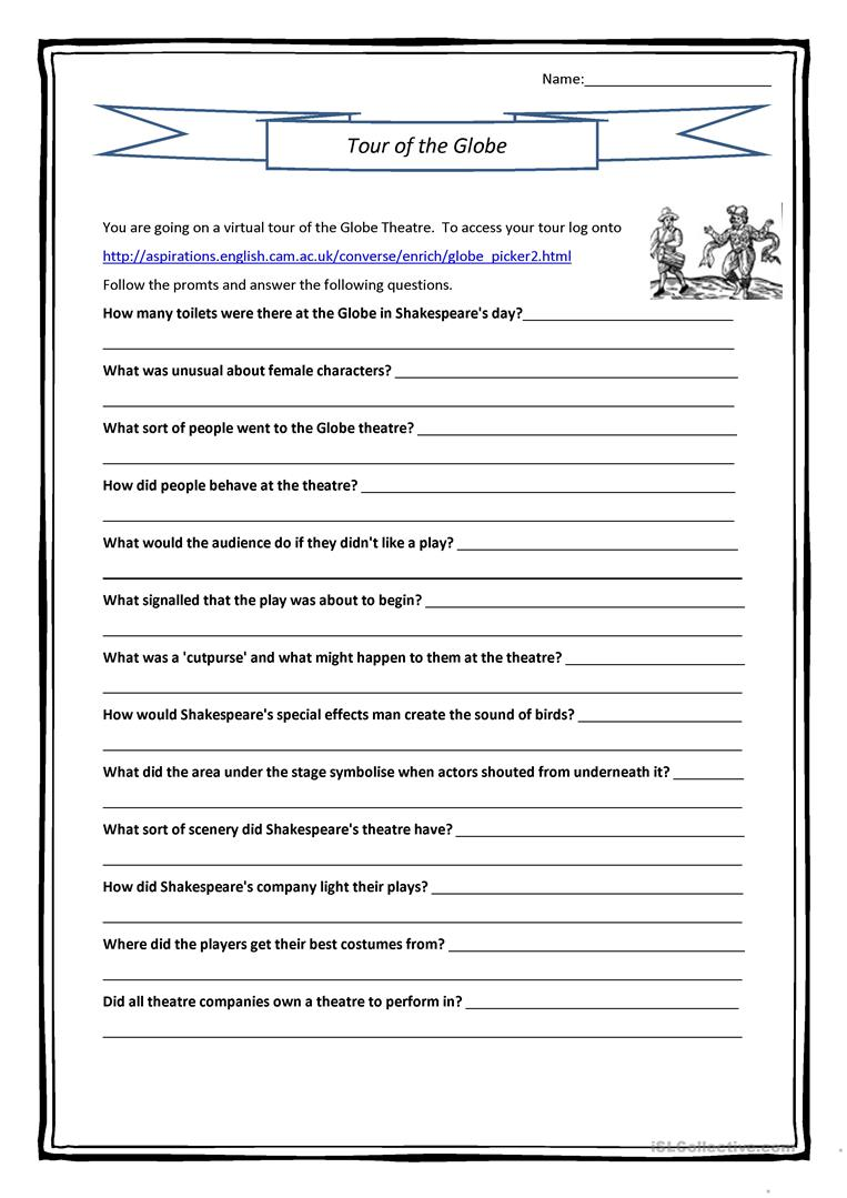 interactive globe theatre questions worksheet free esl printable worksheets made by teachers. Black Bedroom Furniture Sets. Home Design Ideas