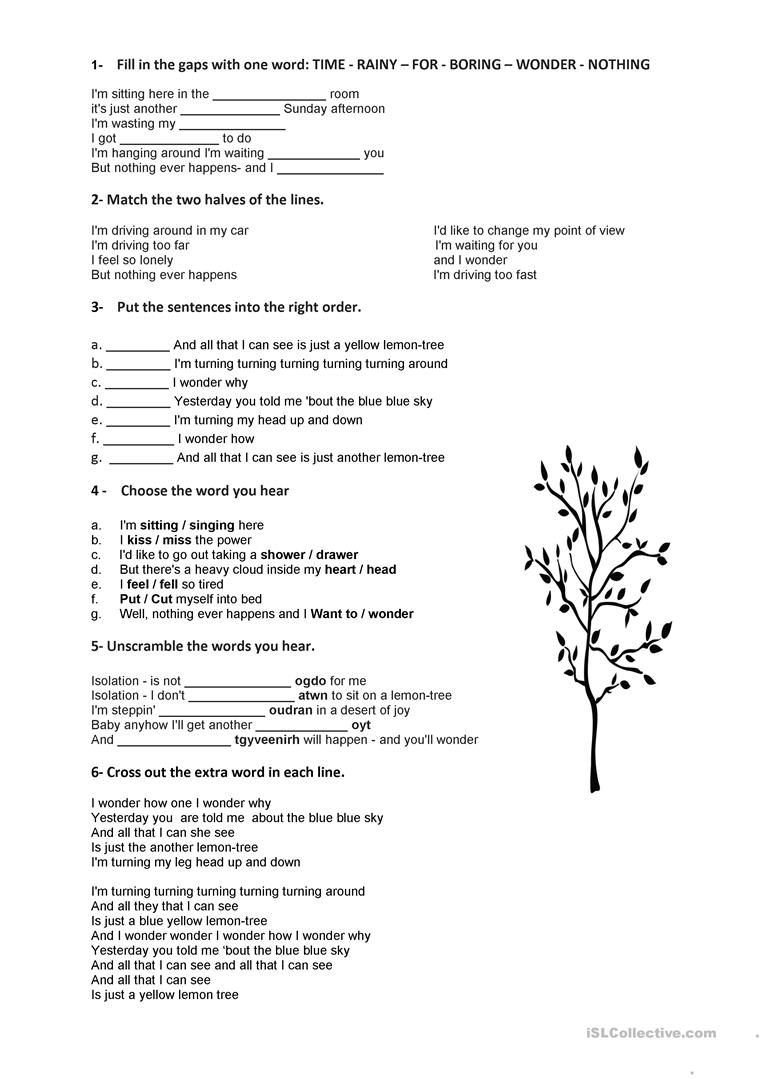 worksheet Lemon Tree Worksheet lemon tree song worksheet free esl printable worksheets made by full screen
