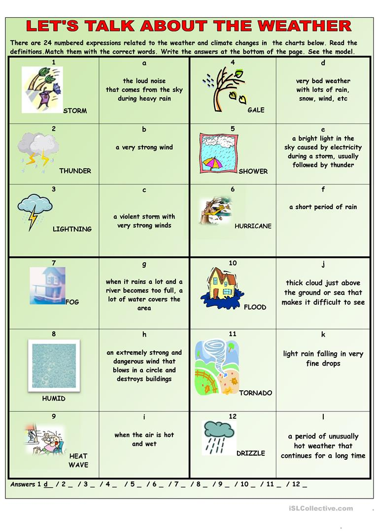 Let 39 S Talk About The Weather English Esl Worksheets