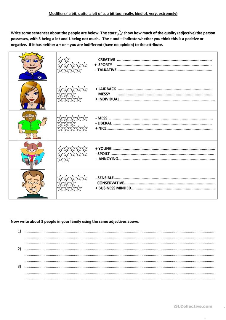 Workbooks punctuation comma worksheets : 7 FREE ESL modifiers worksheets