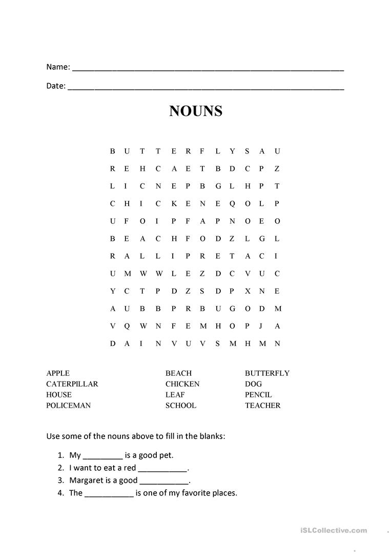 nouns word search puzzle worksheet free esl printable