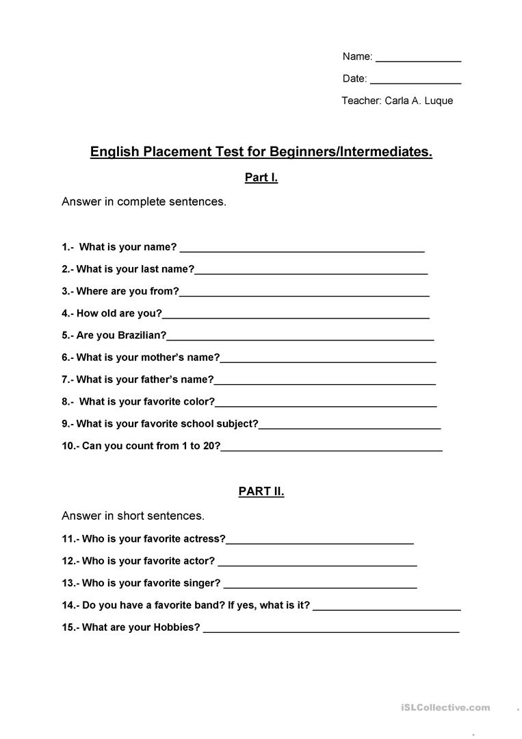 It's just a graphic of Esl Placement Test Printable with year 1