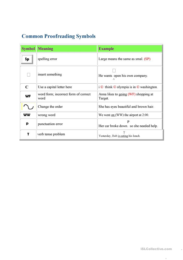 Proofreading Symbols For Correcting Student Papers Worksheet Free