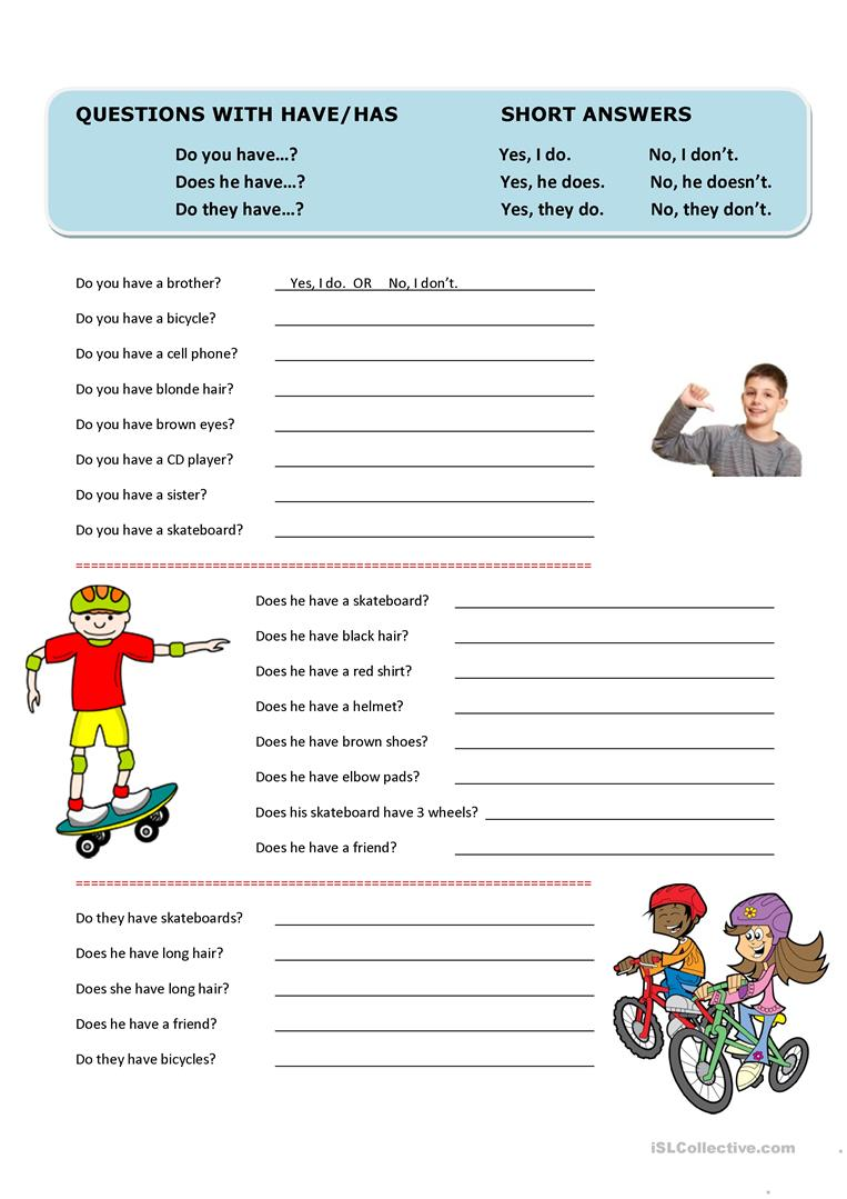 questions with have has and short answers worksheet free esl printable worksheets made by teachers. Black Bedroom Furniture Sets. Home Design Ideas