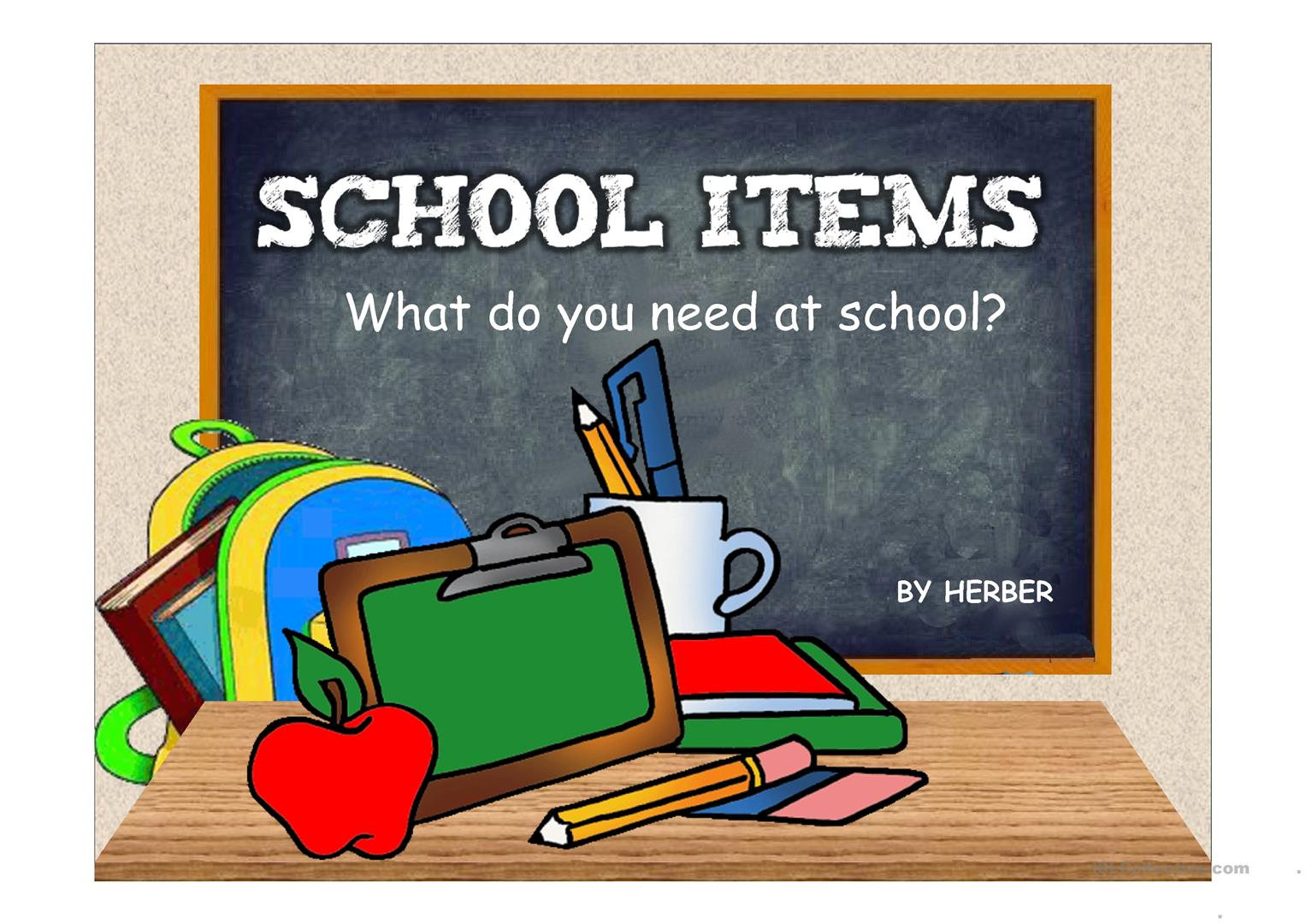 SCHOOL ITEMS PPT - English ESL Powerpoints