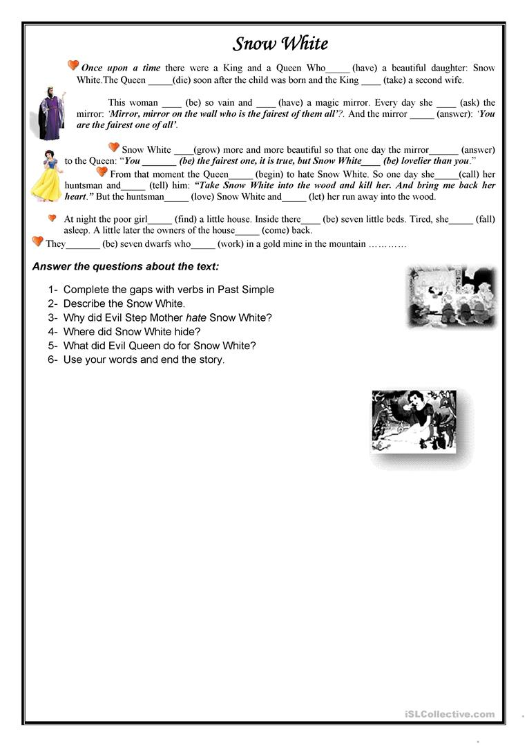 14 FREE ESL snow white worksheets