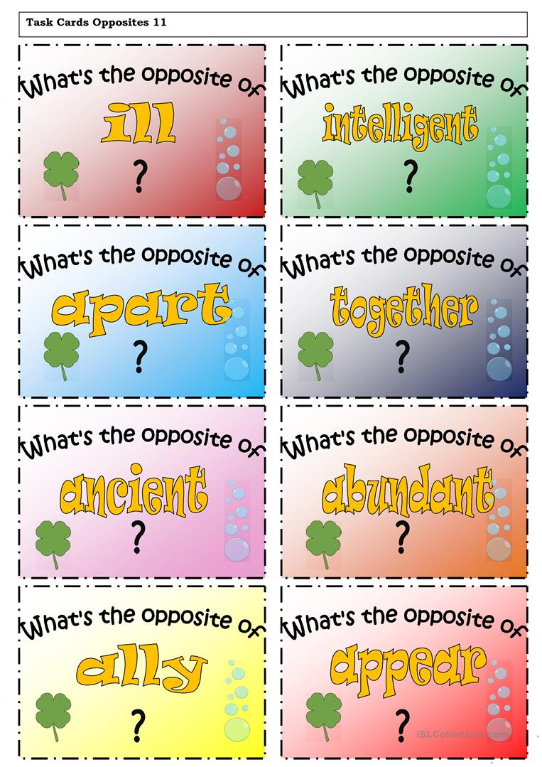 image relating to Printable Task Cards known as Job Playing cards - Opposites 12 worksheet - Free of charge ESL printable
