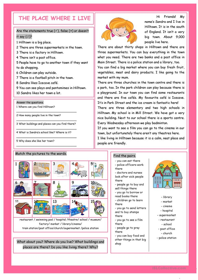 Workbooks text features reading comprehension worksheets : The Place Where I Live Reading Comprehension worksheet - Free ESL ...