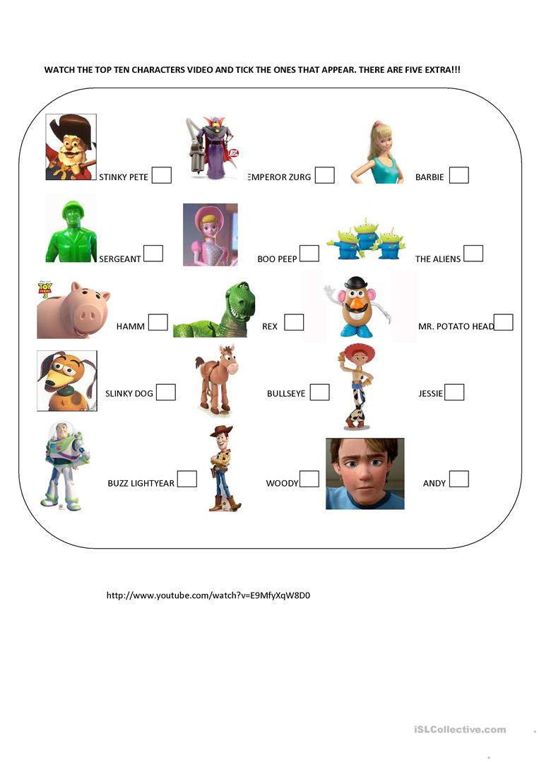 Toy Story Characters English Esl Worksheets For Distance