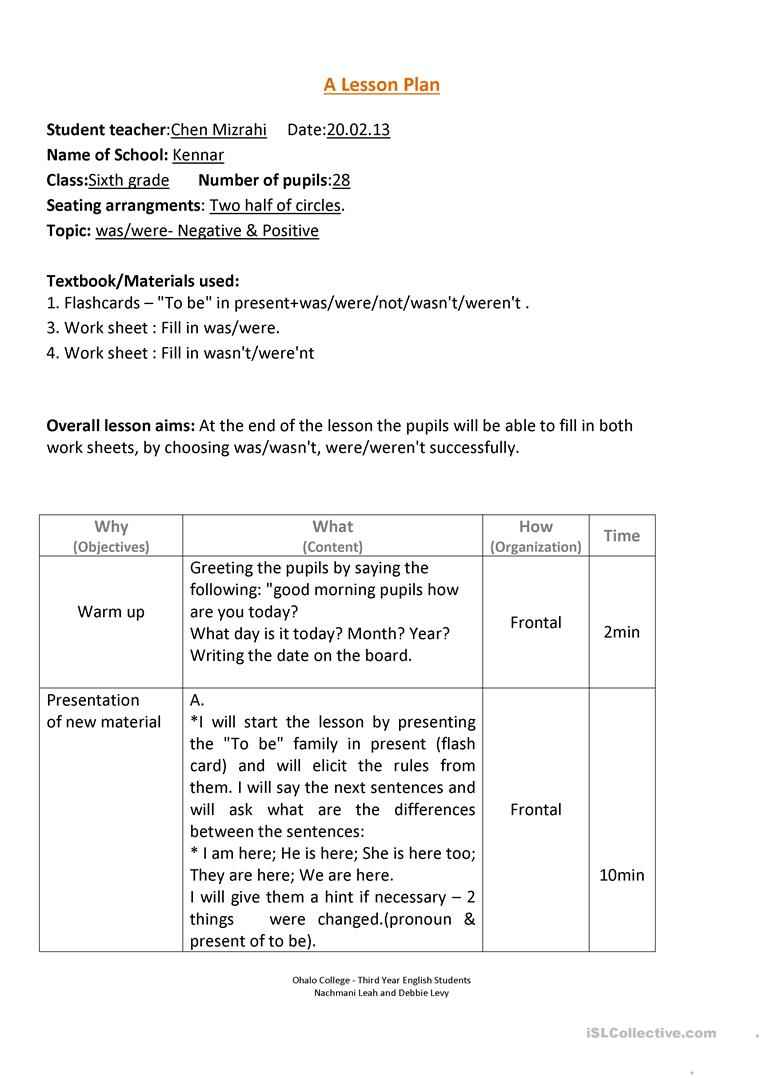 Was/Were lesson plan worksheet - Free ESL printable ...