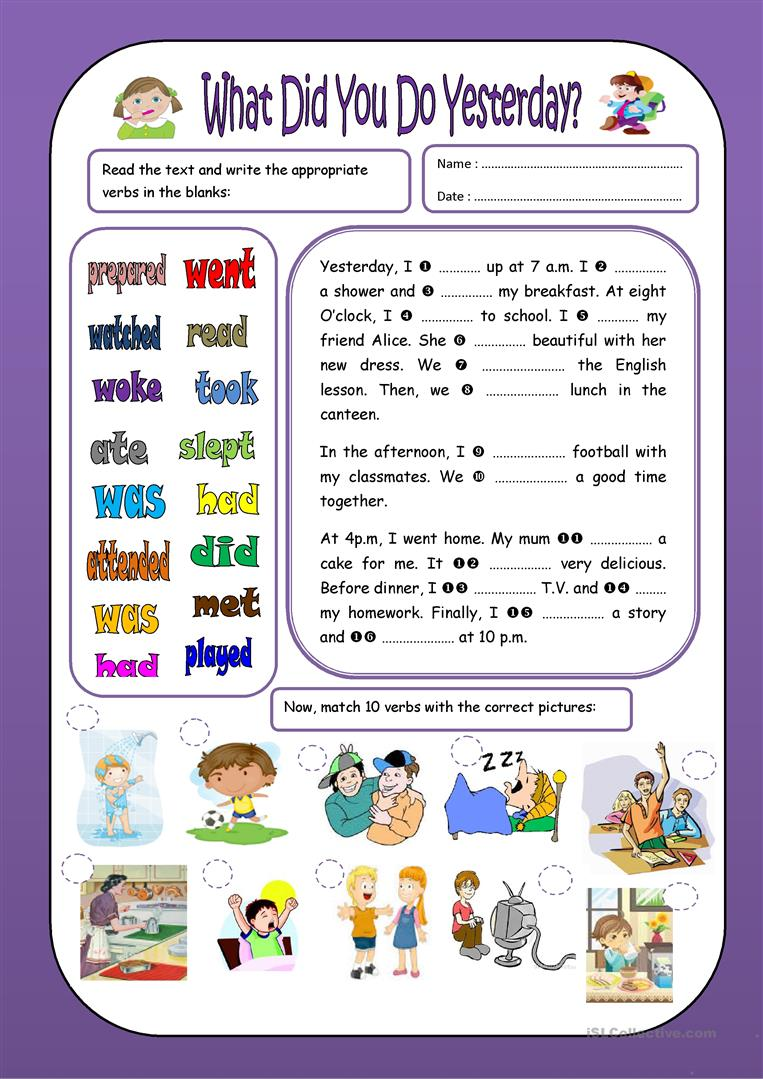 Student Doing Worksheet : What did you do yesterday worksheet free esl printable