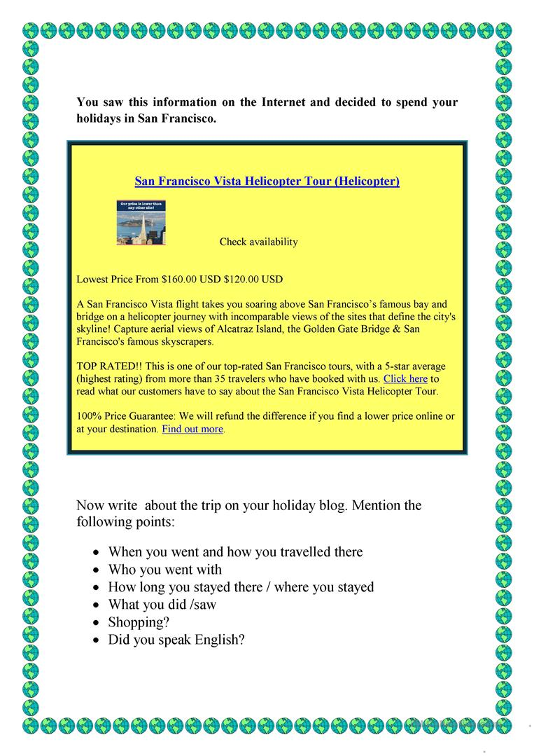 Writing about your last holidays worksheet - Free ESL printable
