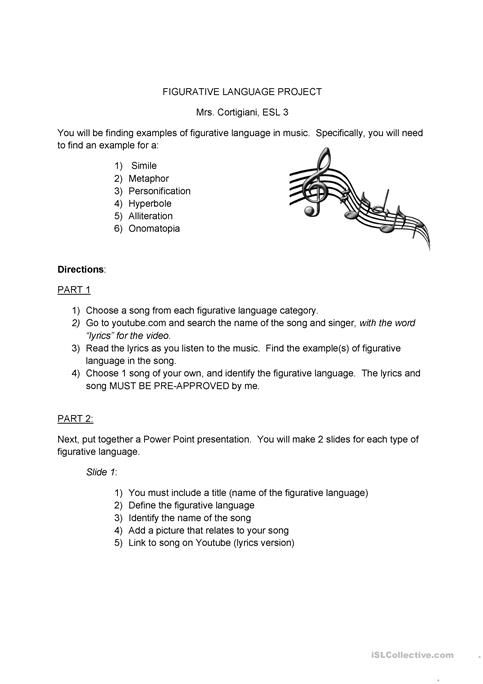 Figurative Language Powerpoint Project Worksheet Free Esl