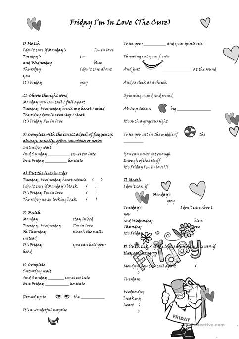 Friday I\'m in love - The Cure worksheet - Free ESL printable ...