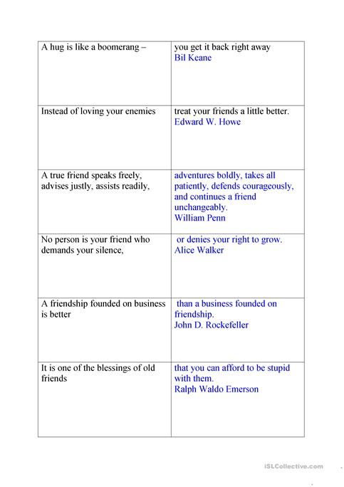 Friendship Quotes Worksheet Free Esl Printable Worksheets Made By