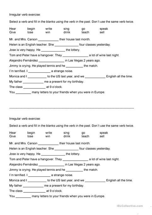 Irregular verbs exercise and reading worksheet - Free ESL printable ...